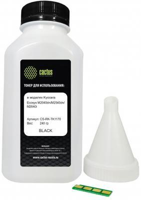 Тонер Cactus CS-RK-TK1170 черный флакон 240гр. (в компл.:чип) для принтера Kyocera Ecosys M2040dn/ M2540dn/M2640idw мфу kyocera ecosys m2640idw