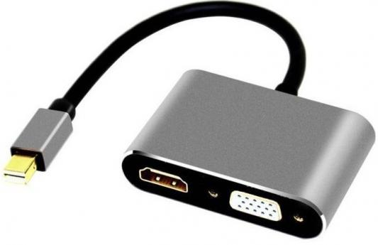 Фото - Кабель-переходник Mini DisplayPort (M) -> HDMI (F)+VGA (F) 4K@30Hz Alum Grey Telecom (TA6080) переходник hdmi f mini hdmi m 5bites hh1805fm mini