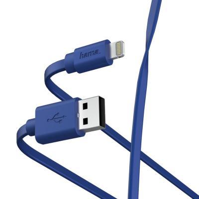 Фото - Кабель Lightning 1м HAMA 00187232 плоский синий кабель интерфейсный hama 00187232 lightning usb 2 0 m 1м синий плоский