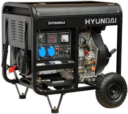 Генератор Hyundai DHY 8000LE 6.5кВт дизельэлектростанция hyundai dhy 6000le 5 5ква 4 4квт 220 в 7 ч дизель