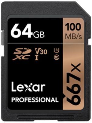 Фото - LEXAR 64GB Professional 667x SDXC UHS-I cards, up to 100MB/s read 60MB/s write C10 V30 U3 lexar 512gb high performance 633x microsdxc uhs i up to 100mb s read 70mb s write c10 a2 v30 u3 global