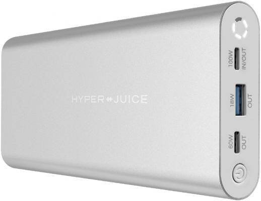 Портативный аккумулятор HyperJuice 130W USB-C Battery. Емкость 27000 мАч. Порты 1 x PD 3.0 100W, 60W, USB-A QC 18W. Цвет серебристый.