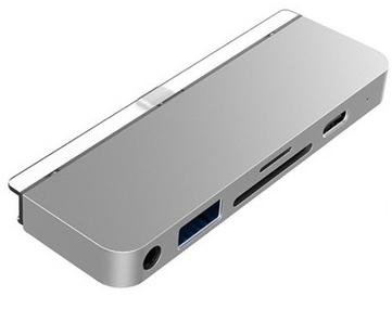 USB-хаб HyperDrive 6-in-1 USB-C Hub для iPad Pro. Порты: USB-C, HDMI, USB-A, SD, Micro SD, 3.5mm AUX. Цвет серебряный. недорого