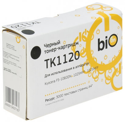 Картридж Bion TK-1120 для Kyocera FS1060DN/1125MFP/1025MFP 3000стр Черный