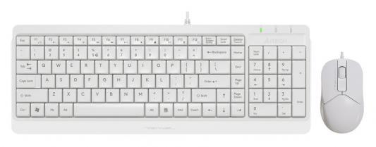 Клавиатура + мышь A4Tech Fstyler F1512 клав:белый мышь:белый USB