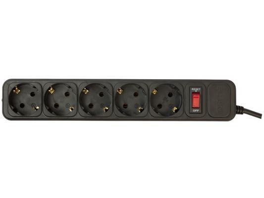 Сетевой фильтр PCPet AP01006-3-B черный 5 розеток 3 м