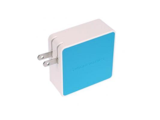 Сетевое зарядное устройство с аккумулятором Powerocks Tetris универсальное с двумя USB выходами 3000mAh. Голубой цены