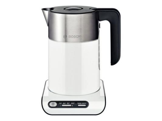 Чайник Bosch TWK8611P 2400 Вт белый 1.5 л металл электрический чайник bosch twk 8611 p twk 8611 p