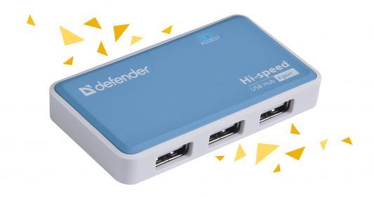 Концентратор USB Defender Quadro Power USB 2.0, 4 порта, блок питания концентратор usb 2 0 defender quadro infix 4 x usb 2 0 черный белый 83504