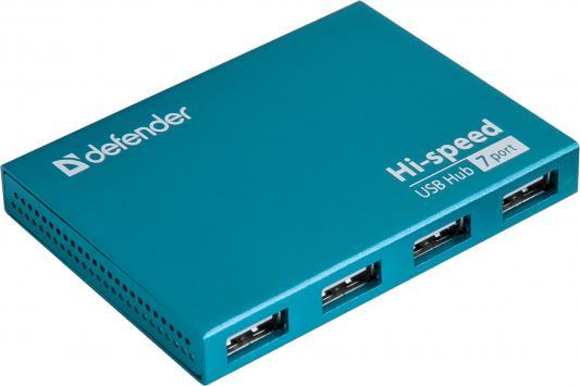 Концентратор USB 2.0 DEFENDER SEPTIMA SLIM 7 x USB 2.0 синий 83505 концентратор usb 2 0 defender quadro swift 7 x usb 2 0 черный 83203