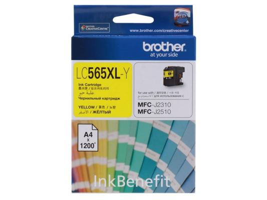 Картридж струйный Brother LC565XLY картридж струйный brother lc980c