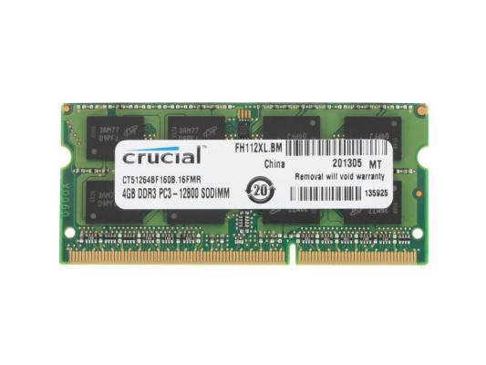 Оперативная память для ноутбуков SO-DDR3 4Gb PC12800 1600MHz Crucial CT51264BF160B CT51264BF160B/J модуль памяти so dimm ddr3l 4gb pc12800 1600mhz crucial ct51264bf160b j 16fmr