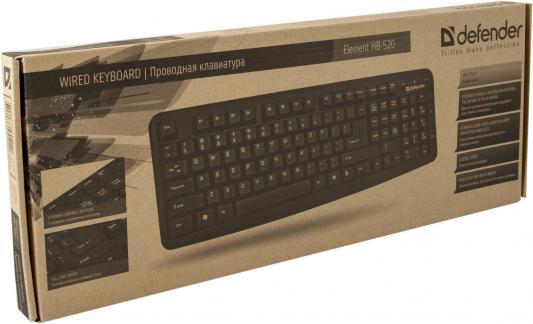 Клавиатура проводная DEFENDER Element HB-520 PS/2 черный 45520 defender element hb 520 usb ru gray проводная клавиатура