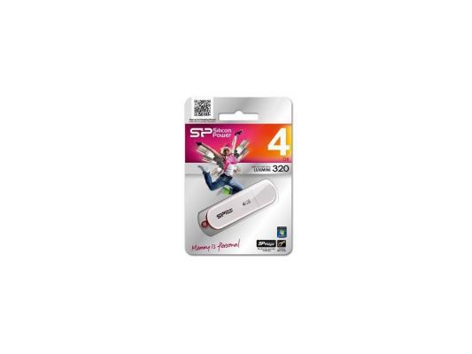 Внешний накопитель 4GB USB Drive <USB 2.0> Silicon Power LuxMini 320 White SP004GBUF2320V1W