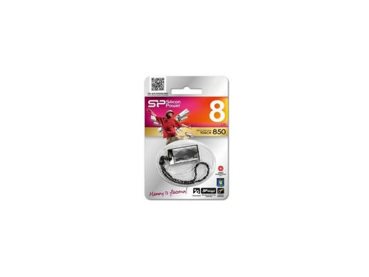 Внешний накопитель 8GB USB Drive <USB 2.0> Silicon Power Touch 850 Titanium