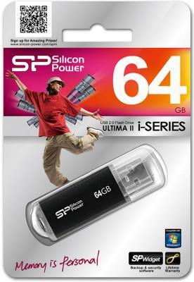 Внешний накопитель 64GB USB Drive <USB 2.0> Silicon Power Ultima II Black I-series внешний накопитель 64gb