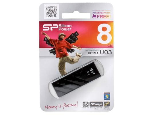 Внешний накопитель 8GB USB Drive <USB 2.0> Silicon Power Ultima U3 Black s354 u3 high speed usb 3 0 3 5 sata external hard disk drive hdd enclosure black max 2tb