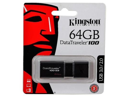 Внешний накопитель 64GB USB Drive <USB 3.0> Kingston DT100G3 (DT100G3/64GB) kingston hyperx savage 64gb usb накопитель
