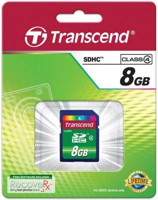 Карта памяти SDHC 8Gb Transcend Class4 карта памяти sony sony 16g tf micro sdhc class4