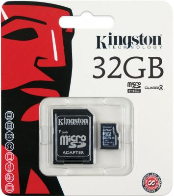 Карта памяти MicroSDHC 32GB Kingston Class4 <SDC4/32GB> карта памяти microsdhc kingston 32 гб class 4 sdc4 32gb 1 шт переходник sd
