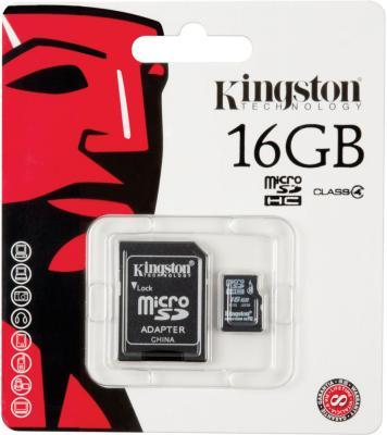 Карта памяти MicroSDHC 16GB Kingston Class4 <SDC4/16GB> карта памяти microsdhc kingston 32 гб class 4 sdc4 32gb 1 шт переходник sd