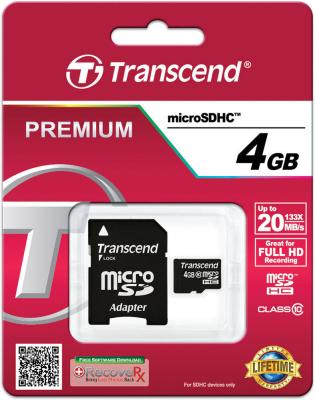 Карта памяти MicroSDHC 4GB Transcend Class10 (TS4GUSDHC10) microsdhc transcend 8gb class10 ts8gusdc10