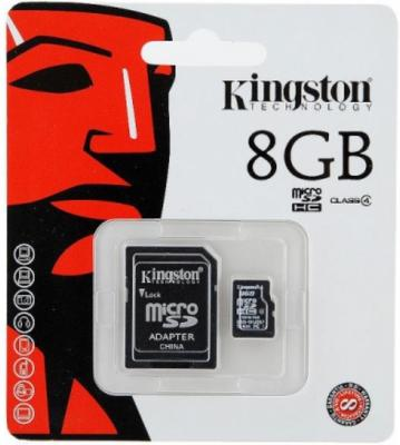 Карта памяти MicroSDHC 8GB Kingston Class4 no Adapter <SDC4/8GBSP>