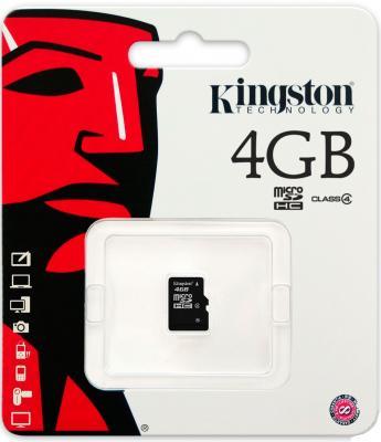 Карта памяти MicroSDHC 4GB Kingston Class4 no Adapter <SDC4/4GBSP>