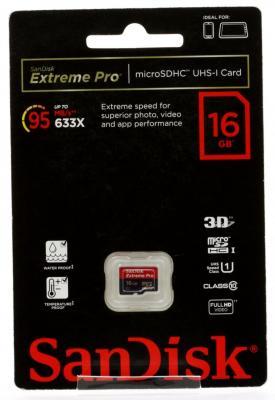 Карта памяти MicroSDHC 16Gb SanDisk Class10 Extreme Pro