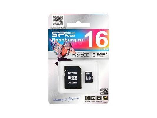 Карта памяти MicroSDHC 16GB Silicon Power Class4 + 1 Adapters карта памяти microsdhc 16gb kingston class4