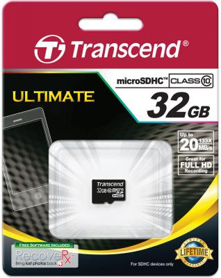 Карта памяти MicroSDHC 32GB Transcend Class10 (TS32GUSDC10, без адаптера)