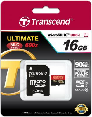 Карта памяти MicroSDHC 16GB Transcend Class10 (TS16GUSDHC10U1)