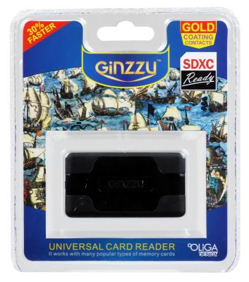 Карт-ридер USB 2.0 Ginzzu GR-416B, Black карт ридер ginzzu gr 417ub globusgps gl usb cbr cr 455