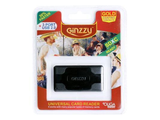 Карт-ридер USB 2.0 Ginzzu + Hub 3 port, Black (GR-417UB)