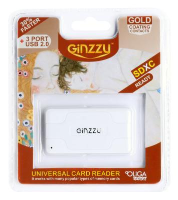 Карт-ридер USB 2.0 Ginzzu + Hub 3 port, White (GR-417UW)