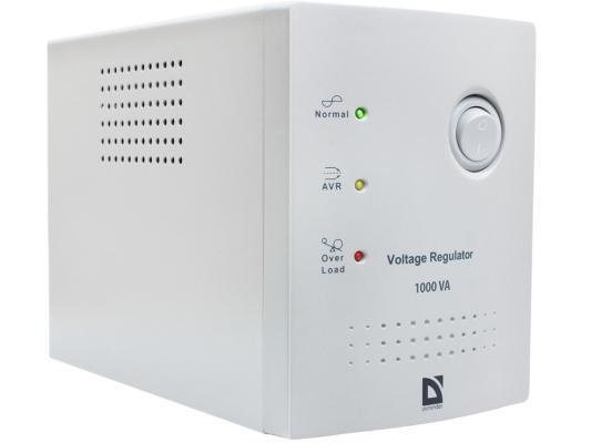 Стабилизатор напряжения DEFENDER AVR Real 1000VA белый 4 розетки 1 м