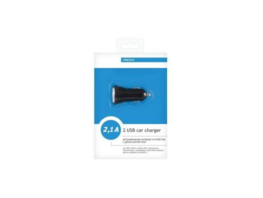 Автомобильное зарядное устройство Deppa  2 USB компакт 2,1 А, черный  (11204)