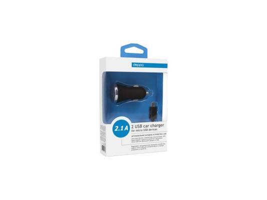 Автомобильное зарядное устройство Deppa  2 USB 2,1А, дата-кабель micro USB, черный (11206) кабель deppa usb micro usb 2 x сторонние коннекторы витой 2м белый 72216