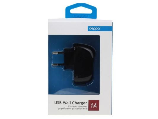 Сетевое зарядное устройство Deppa  USB, 1А, черный, (23123) сетевое зарядное устройство apple usb мощностью 5 вт md813zm a