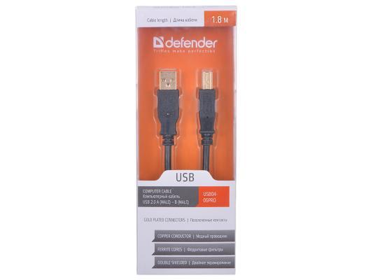 Кабель USB 2.0 AM/BM 1.8m с ферритовыми кольцами, позол конт, Defender
