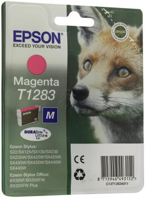 Картридж Epson Original T1283 (пурпурный) для S22/SX125 (C13T12834011) for epson t1281 t1282 t1283 t1284 refillable ink cartridge for epson stylus s22 sx125 sx130 sx235w sx425w sx435w printer part