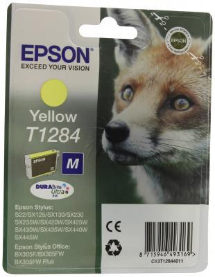 Картридж Epson Original T1284 (желтый) для S22/SX125 (C13T12844011) for epson t1281 t1282 t1283 t1284 refillable ink cartridge for epson stylus s22 sx125 sx130 sx235w sx425w sx435w printer part