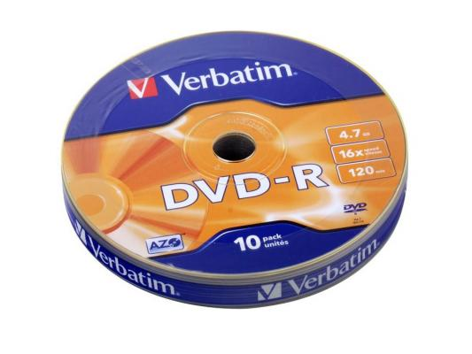 Диск DVD-R 4.7Gb Verbatim 16x Shrink/10 (43729)