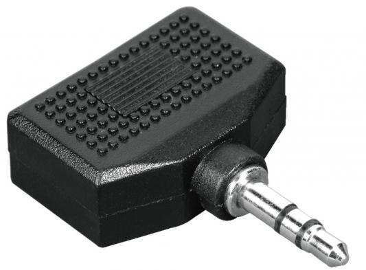 Адаптер Hama 2x3.5 мм Jack (f) - 3.5 мм Jack (m), стерео, черный H-43353 переходник 3 5мм jack m 6 3мм jack f