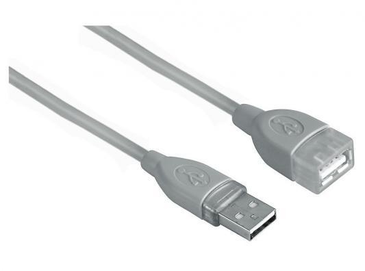 Кабель Hama USB 2.0 A-A (m-f) удлинительный, 3.0 м, *, серый H-45040 цена и фото