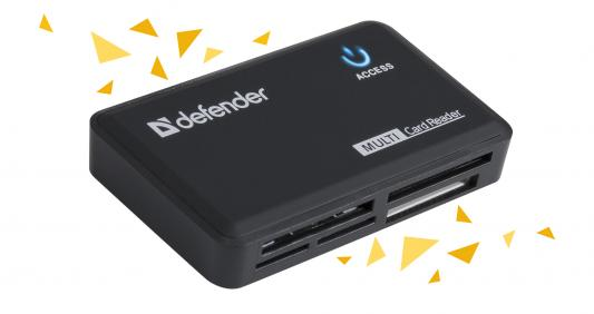 Карт-ридер Defender Optimus USB 2.0, универс. черный 83501 картридер defender optimus usb 2 0 83501