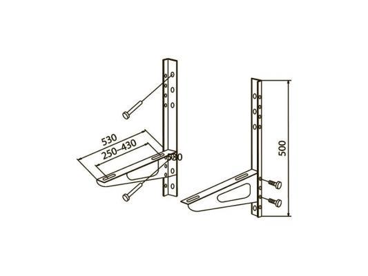 Кронштейн Kromax AIR-2, для внешних блоков, габариты ГхВ 530х500 мм, монтажные отверстия 250-430 мм, max 150 кг, монтажный набор в комплекте, белый  AIR-2