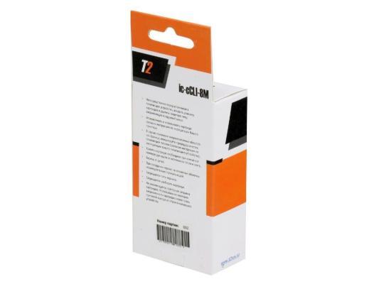 Картридж T2 для Canon IC-CCLI-8M Pixma iP4200/4300/5200/Pro9000/MP500/600, пурпурный, с чипом картридж easyprint cli 8c для canon pixma ip4200 5200 pro9000 mp500 600 голубой ic cli8c