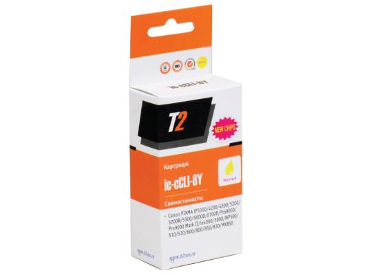 Картридж T2 для Canon IC-CCLI-8Y Pixma iP4200/4300/5200/Pro9000/MP500/600, желтый, с чипом картридж t2 ic ccli 8y для canon pixma ip4200 4300 5200 pro9000 mp500 600 желтый