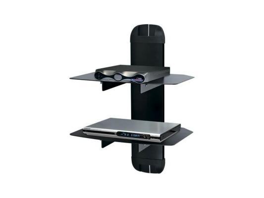 Кронштейн Kromax X-Duo black, для A/V систем, настенный, max 10кг, стекло 5 мм, размер полок 270*360, регулировка по высоте, кабель-канал